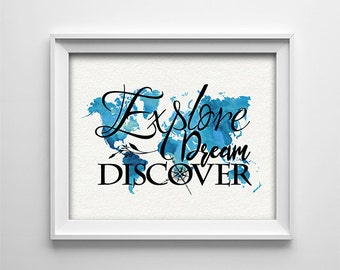 "INSTANT DOWNLOAD 8X10"" printable digital art - Explore Dream Discover - World map - Compass - Inspirational - House warming gift"