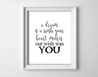 "INSTANT DOWNLOAD 8X10"" printable digital art - A dream is a wish your heart makes - Wall art - Black and white - Typography - Nursery decor"