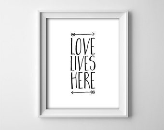 "INSTANT DOWNLOAD 8X10"" printable digital art - Love Lives Here - Typography wall art - bedroom - black on white - Nursery - Playroom"