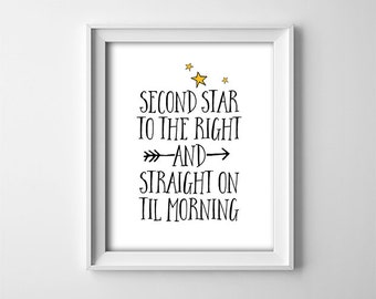 """INSTANT DOWNLOAD 8X10"""" printable digital art - Second star to the right - Peter Pan quote - Black and White with yellow stars - Nursery art"""