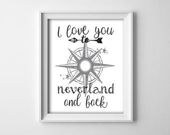 """INSTANT DOWNLOAD 8X10"""" printable digital art file-I love you to Neverland and back-Peter Pan-Compass-black,white-Star-Nursery art-Typography"""