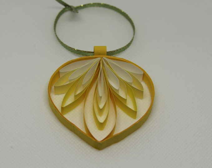 Paper Quilled Drop Ornament Yellow