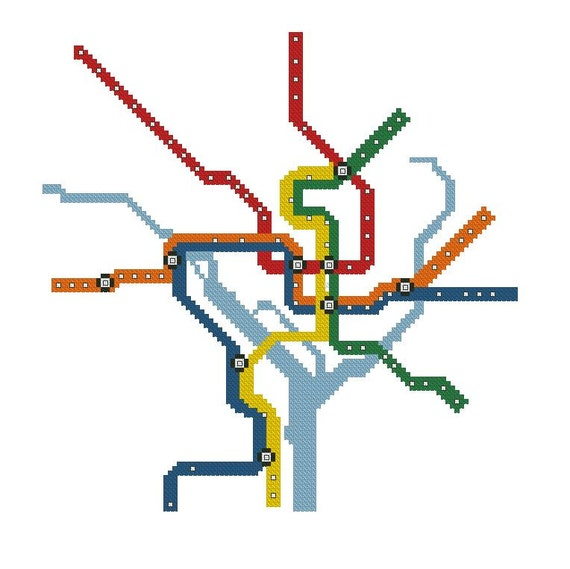 DC Metro Map Cross-Stitch Pattern Download (Now with Silver Line!)
