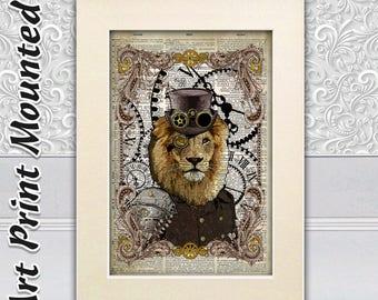 Lion Art Print, Animal Wall Decor, Steampunk Wall Hangings, Nursery Print, Art Dictionary, Shabby Chic, Unique Decor