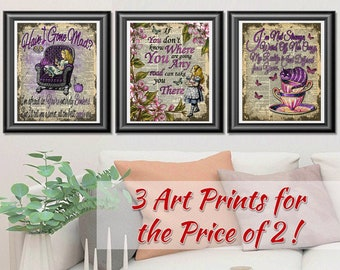 Alice in Wonderland prints, Set of 3 dictionary book art pages, Cheshire Cat print, Alice wall art, Gift idea, Home Decoration
