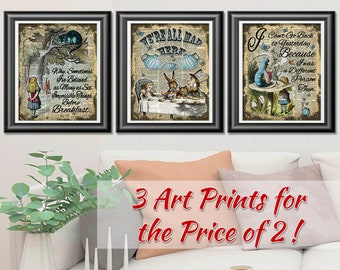 Alice in Wonderland Decor, Set of Prints on Dictionary Book Pages. Home Decor, We're All Mad Here Poster, Wedding Decor, Housewarming Gift
