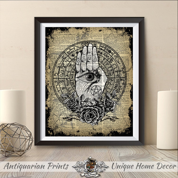 Witchcraft Wiccan Print Pagan Decor Palm Art Work Home