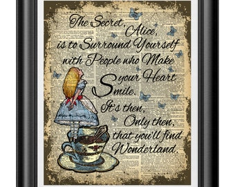 Alice in Wonderland wall art, Dictionary art Print, inspirational quotation, unique home decor