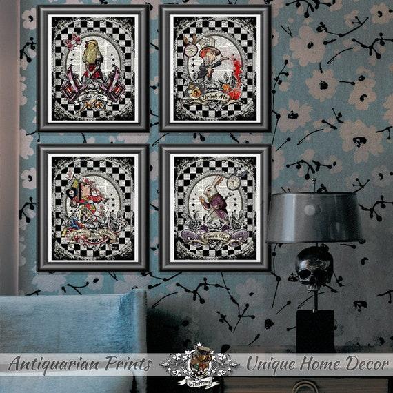 Alice in Wonderland prints Gothic Tattooed Alice wall decor   Etsy