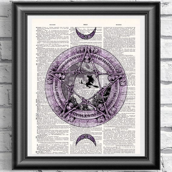 Original ART Print DICTIONARY ANTIQUE BOOK PAGE Pentagram Witchcraft Gothic