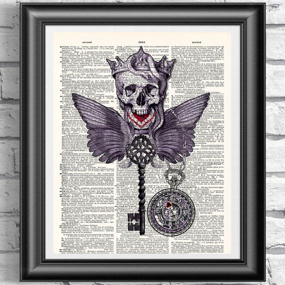 Raven Art Print on Antique Dictionary Book Page Wall Decor Skull Picture Tattoo