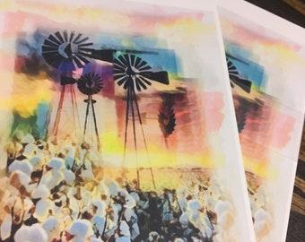 Windmills and Cotton Fields Original Artwork