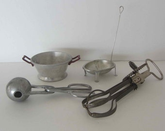 Vintage aluminum kitchenware, Aluminum meatball maker, Hand mixer beater, Small strainer, Boiled egg strainer, Camping set, Country cottage
