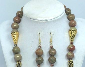 Green Brown Gold Jasper Necklace Earrings Set - Jewelry Set - Necklace Earrings Set - Gemstone Jewelry