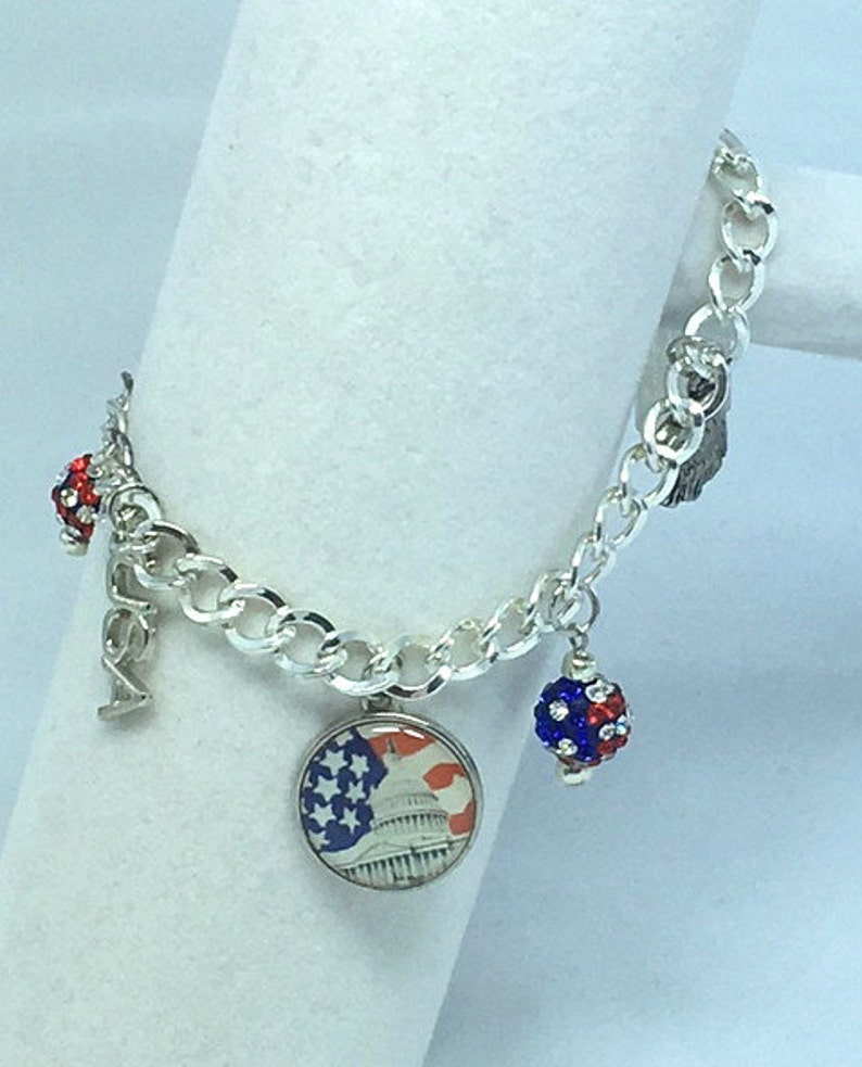 Bracelets Red White and Blue Patriotic Silver Charm Bracelet Jewelry Charm Bracelet