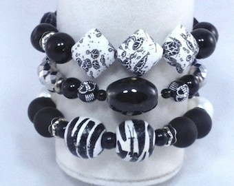 Black White Silver 3 Piece Stack Bracelet Set