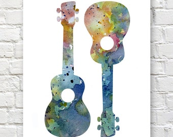 Ukulele Art Print - Abstract Watercolor Painting - Wall Decor