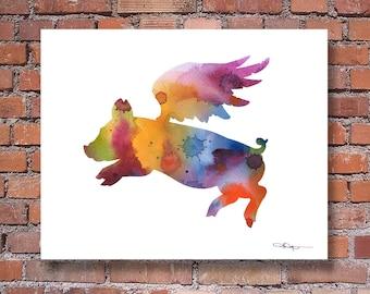 Flying Pig - Art Print - Abstract Watercolor Painting - Wall Decor