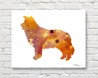 Border Collie Art Print - Abstract Watercolor Painting - Wall Decor