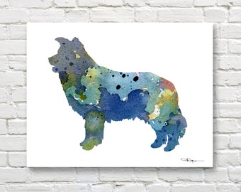 Blue Border Collie Art Print - Abstract Watercolor Painting - Wall Decor