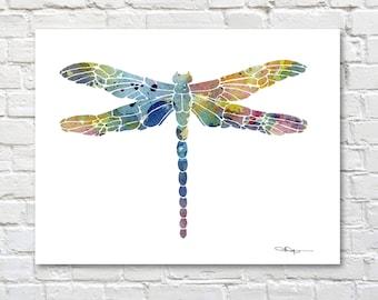 Libelle-Kunstdruck - abstrakte Aquarell - Wand-Dekor
