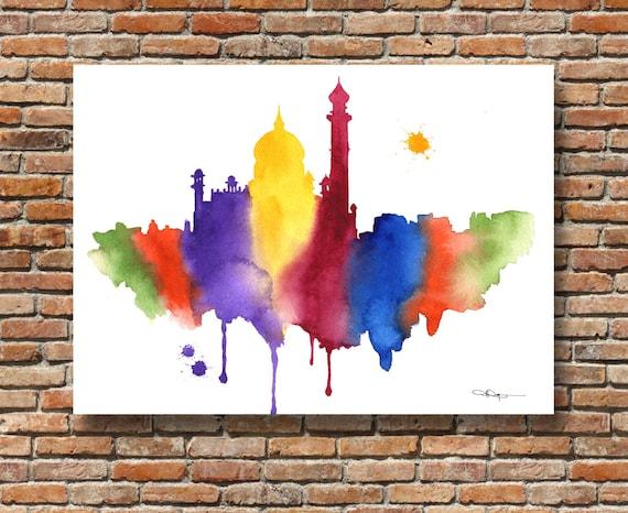 Cincinnati Skyline Abstract Watercolor Painting Art Print by Artist DJ Rogers