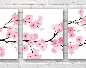 Cherry Blossoms Set of 3 Art Prints -Triptic Floral Watercolor Paintings - Wall Decor