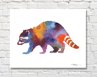 Raccoon Art Print - Abstract Wildlife Watercolor Painting - Wall Decor