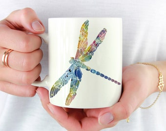 Dragonfly Mug - Dragonfly Lover Gift - Colorful Dragonfly Watercolor Art Mug - Dragonfly Coffee Mug - Unique Dragonfly Gifts