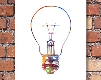 Light Bulb Art  Print - Abstract Watercolor Painting - Wall Decor
