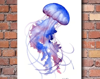 Jellyfish Art Print - Watercolor - Abstract Painting - Wall Decor