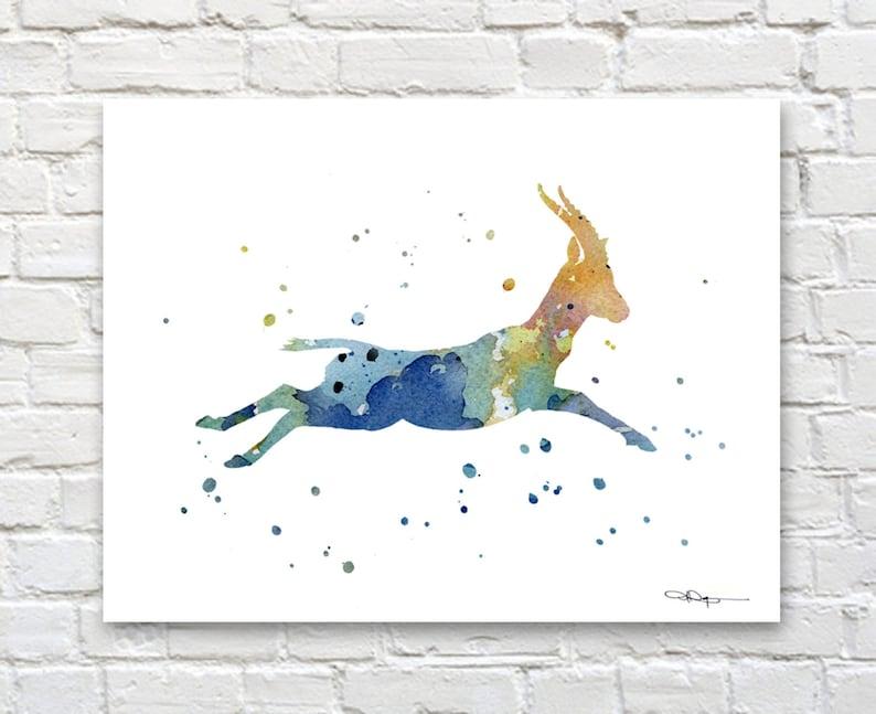 f9745ebeadf17 Blue Gazelle Art Print - Watercolor - Wildlife Abstract Painting - Animal  Wall Decor
