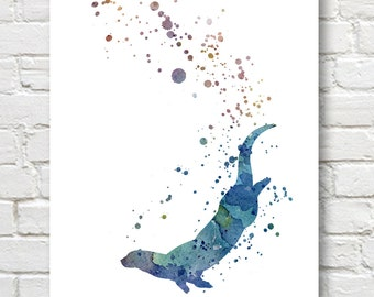 Otter Art Print - Abstract Watercolor Painting - Wall Decor