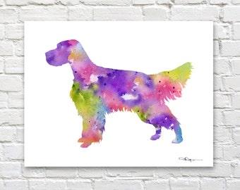 English Setter Art Print - Abstract Watercolor Painting - Dog  - Wall Decor