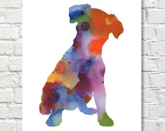 Jack Russell Terrier Art Print - Abstract Watercolor Painting - Wall Decor