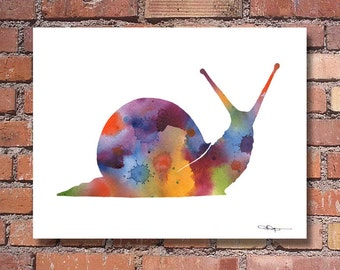 Snail Art Print - Abstract Watercolor Painting - Wall Decor