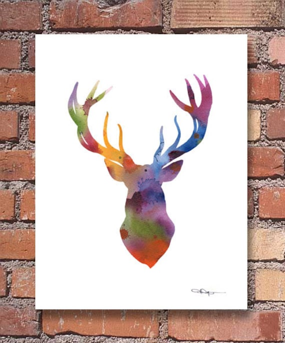 Deer Abstract Watercolor Painting Whitetail Buck Art Print by Artist DJ Rogers