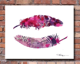 Feathers Art Print - Abstract Watercolor Painting - Wall Decor