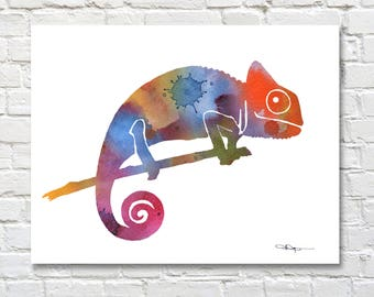 Chameleon Art Print -Abstract Watercolor Painting - Wall Decor