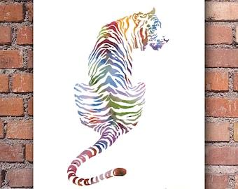 Tiger Art Print - Watercolor - Colorful Abstract Painting - Wall Decor