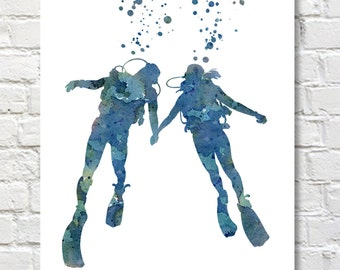 Scuba Divers Art Print - Abstract Watercolor Painting - Wall Decor