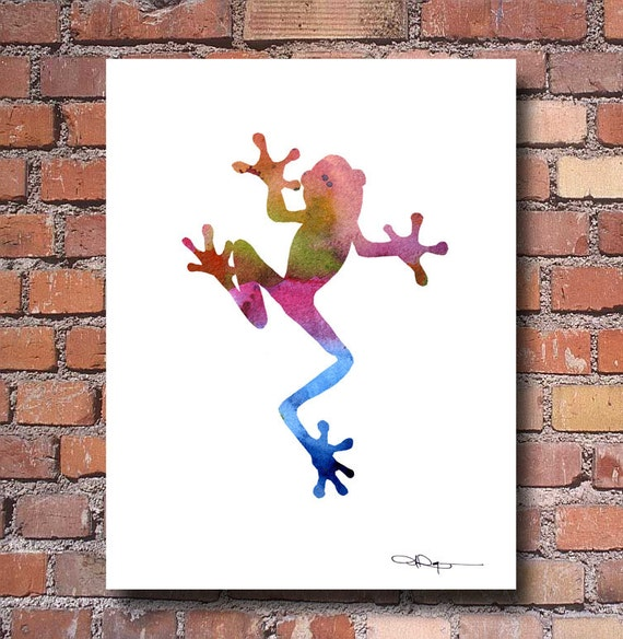 Tree Frog Art Print Abstract Watercolor Painting Wall Decor
