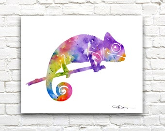 Colorful Chameleon Art Print -Abstract Watercolor Painting - Wall Decor