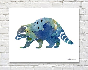 Blue Raccoon Art Print - Abstract Wildlife Watercolor Painting - Wall Decor