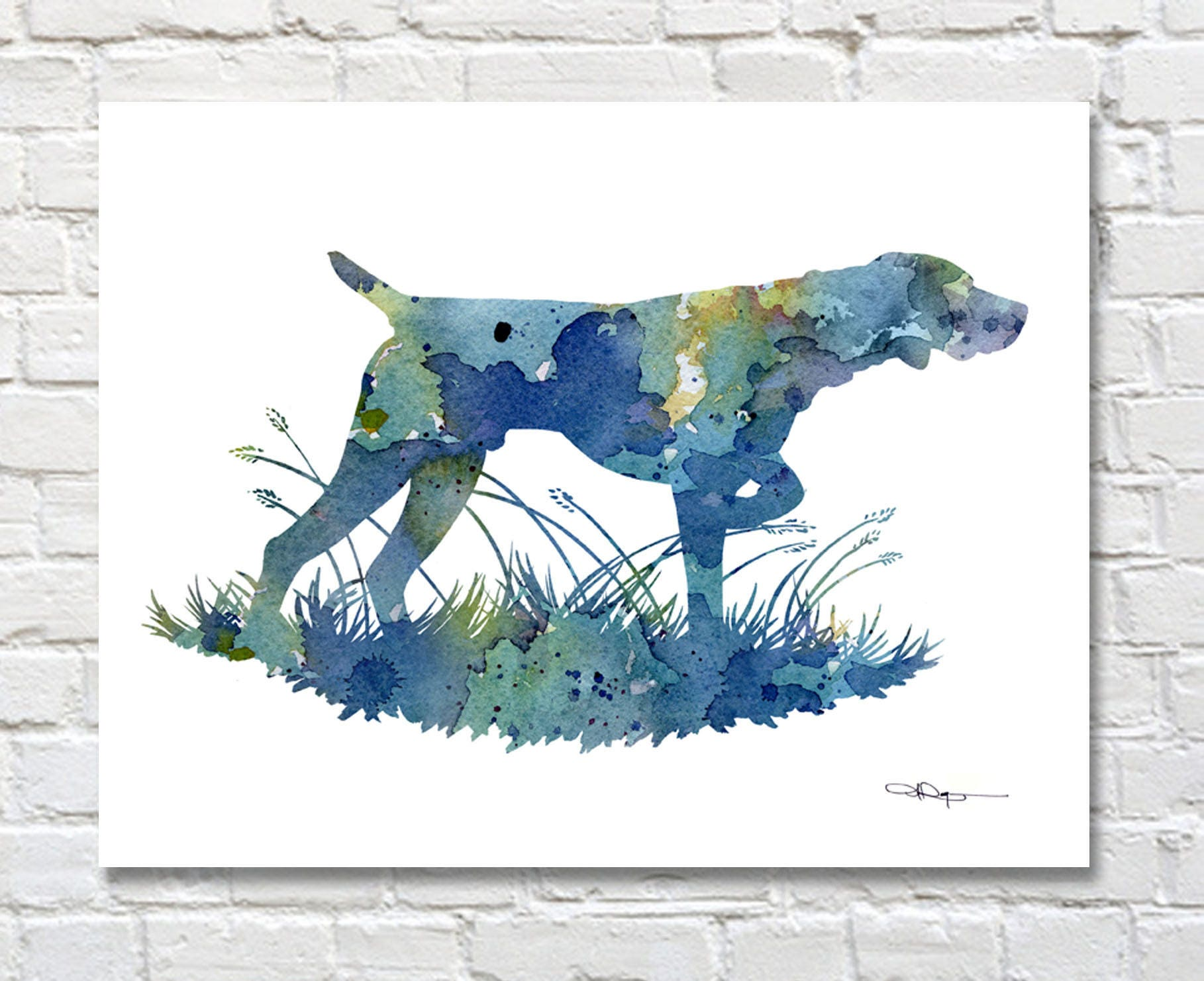 German Short Haired Pointer Art Print Abstract Watercolor