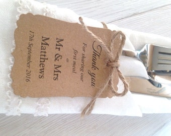 10 Personalised Wedding First Meal Tags