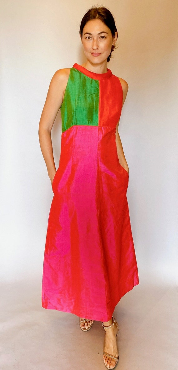 Silk Colorblock Gown