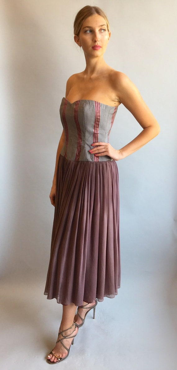 1990s Strapless chiffon dress