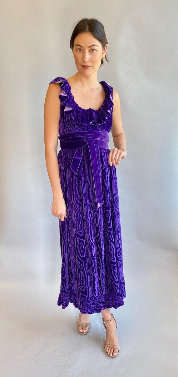 Vintage Donald Brooks Boutique Purple Moire Velvet