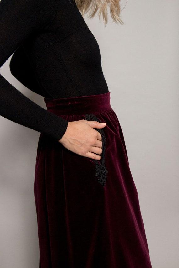 1970's Yves Saint Laurent Velvet Skirt W/Trim - image 5